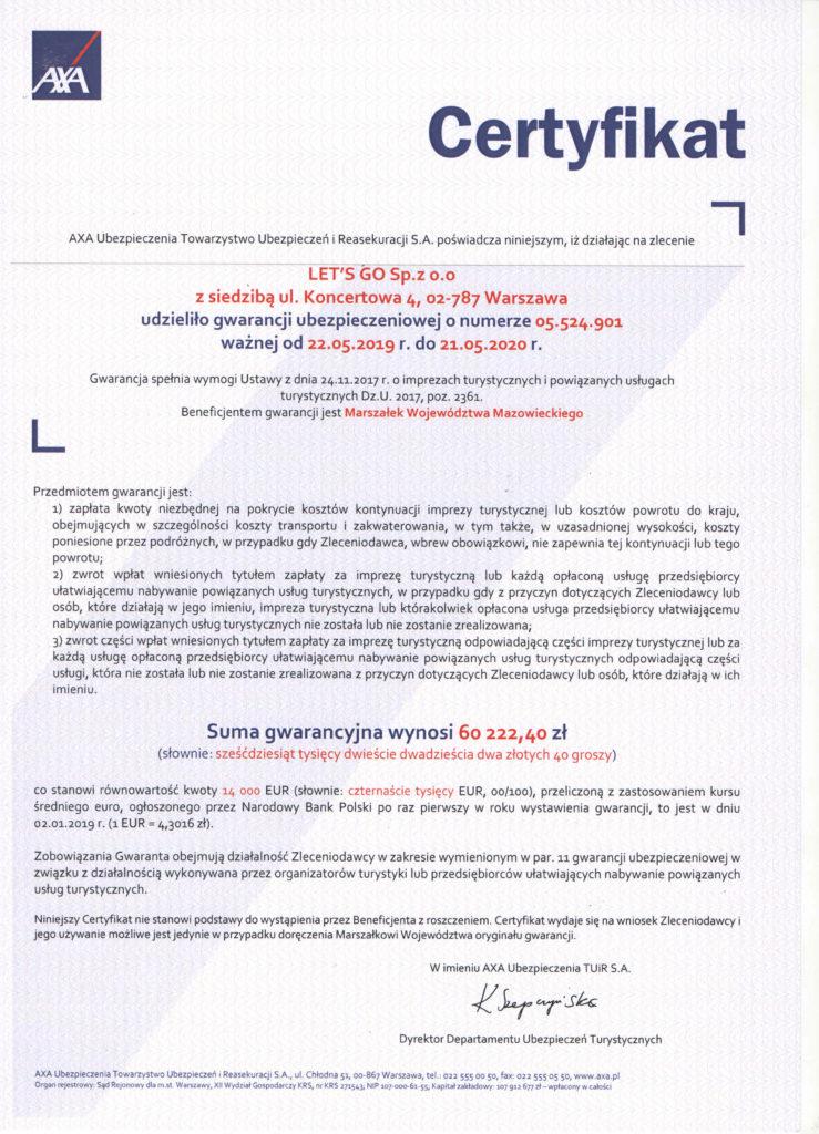 certyfikat ubezpieczeniowy 2019